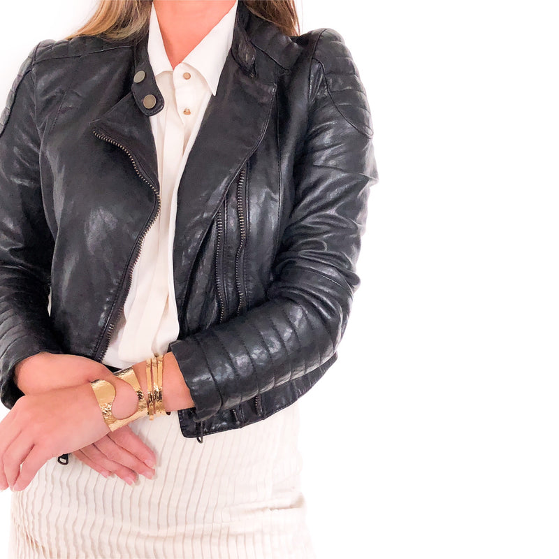YAN NEO LONDON GOLD JEWELLERY AND CLIO ITALIAN LEATHER JACKET