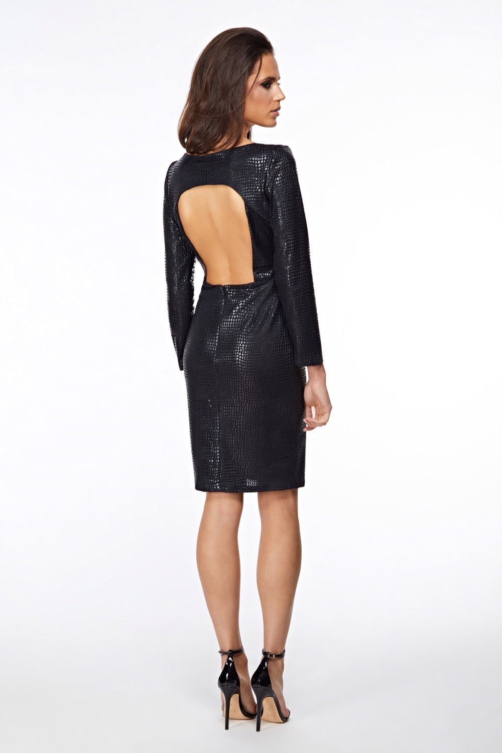 Hera Croc Black Backless Dress