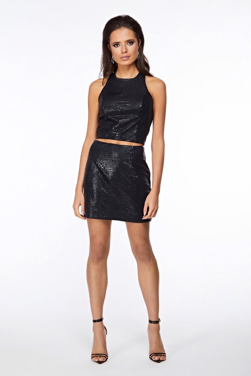 Hera Croc Black Crop Top Front