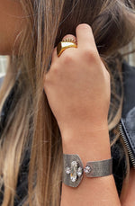 The Crystal Cuff Bracelet styled on Model CLOSEUP