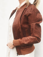 Yan Neo London Clio Tan Vintage Leather Bomber Jacket Styled On Model