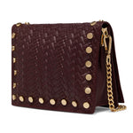 The Claret Kristi Embossed Weaved Leather Stud Bag Side View