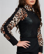 The ELPIS Leopard Print Fitted Shirt Close Up