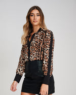 The ELPIS Leopard Print Fitted Shirt Sleeve Detail