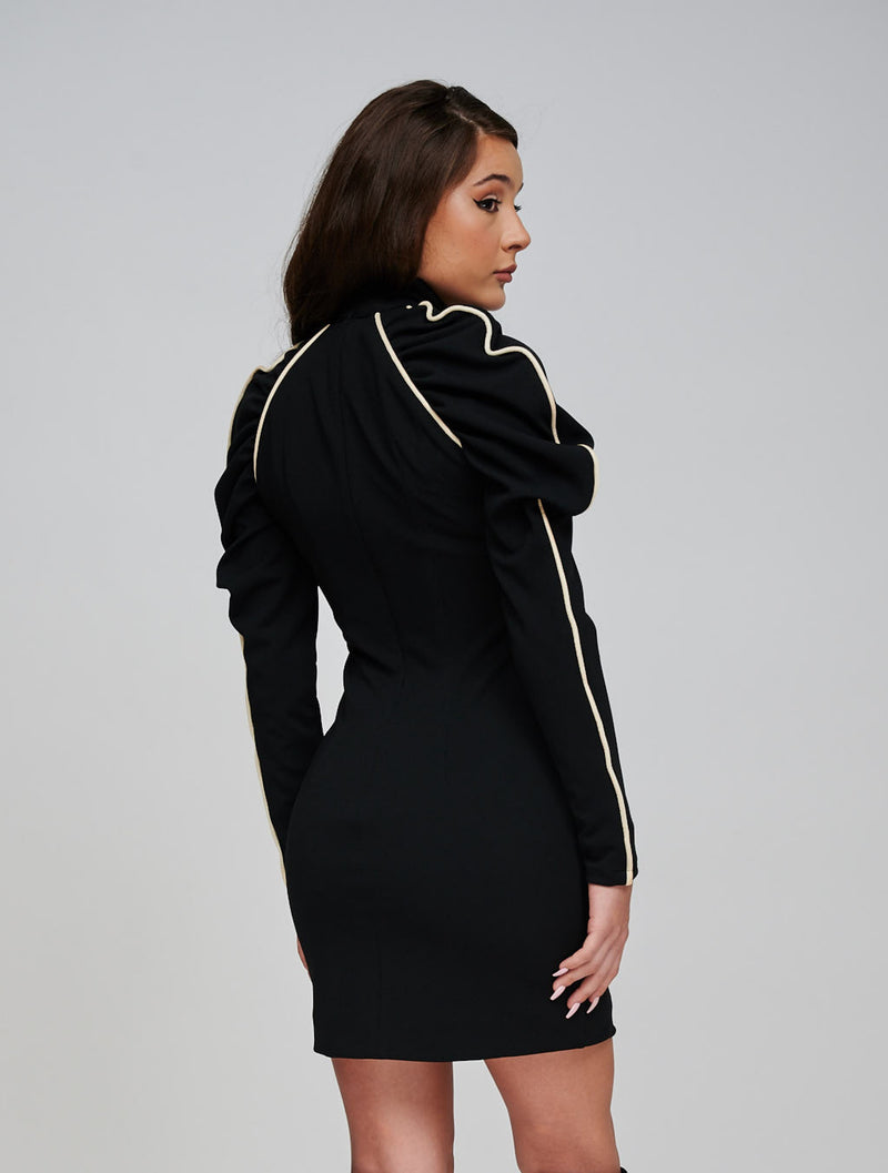 The EOS Black Dress With White Velvet Piping Back