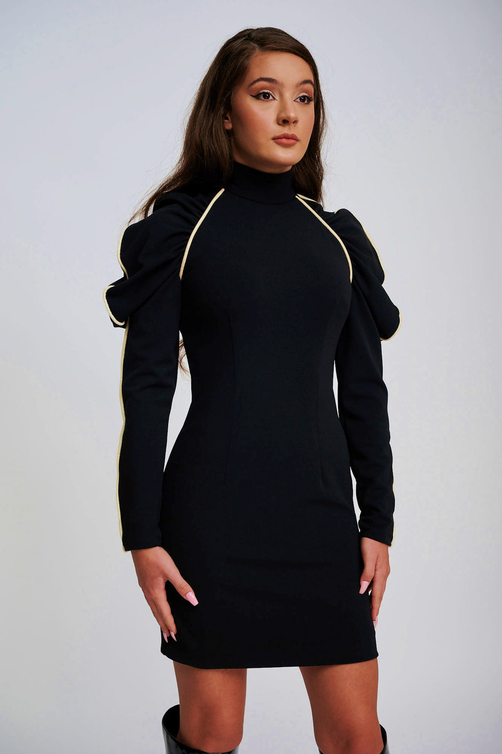 The EOS Black Dress With White Velvet Piping