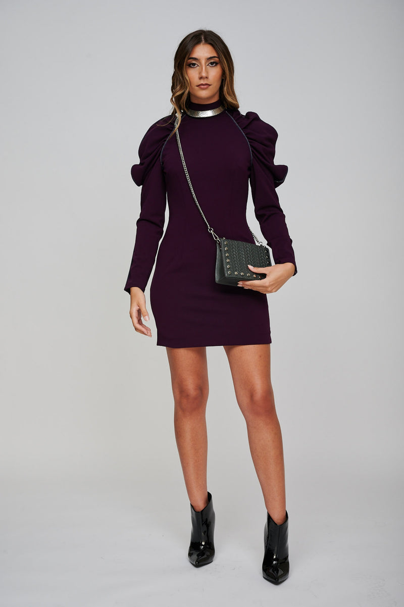 The EOS Purple Dress With Grey Velvet Piping With Accessories