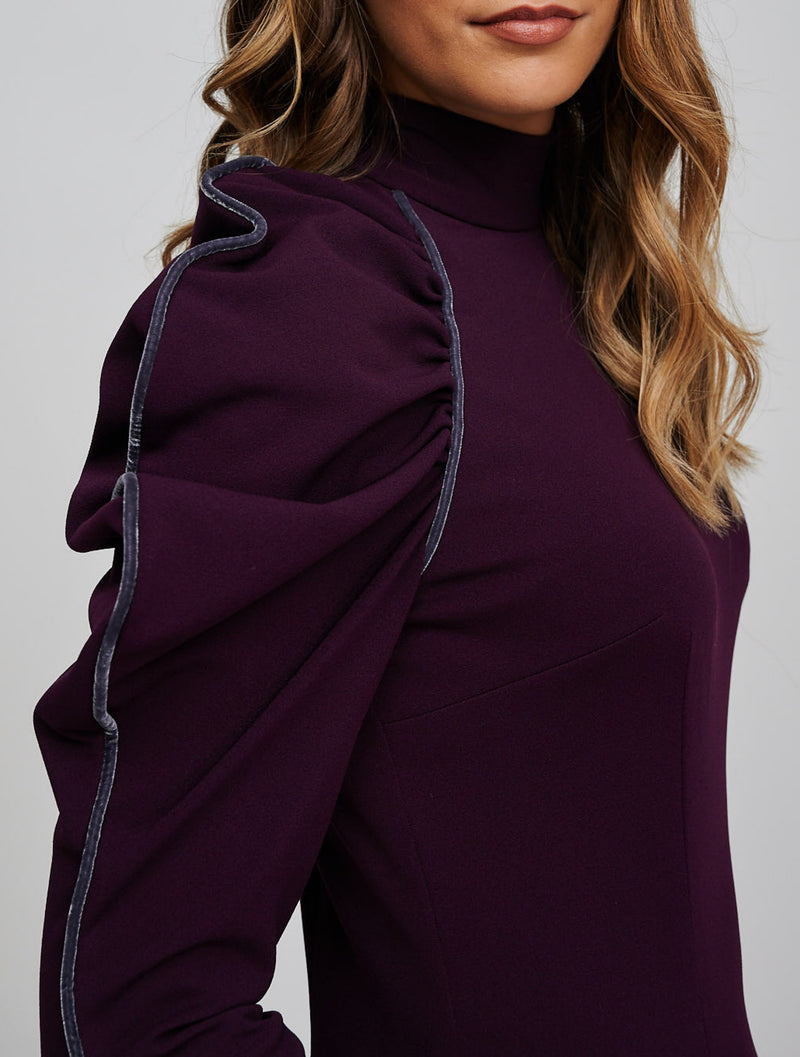 The EOS Purple Dress With Grey Velvet Piping Detail View