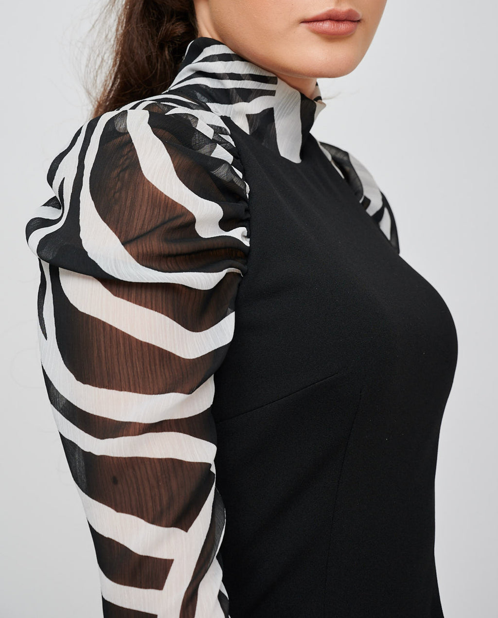 The EOS ZEBRA Print Sleeved Black Dress Detail