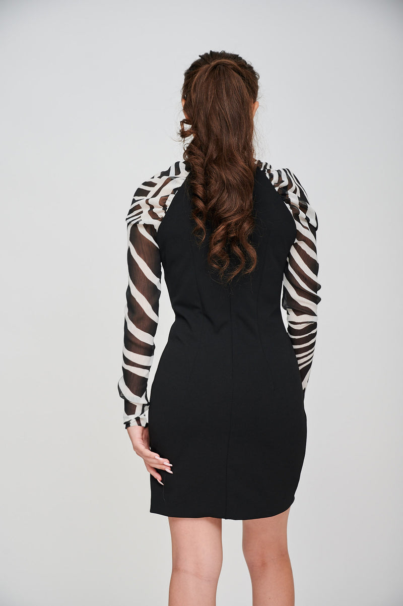 The EOS ZEBRA Print Sleeved Black Dress Back View