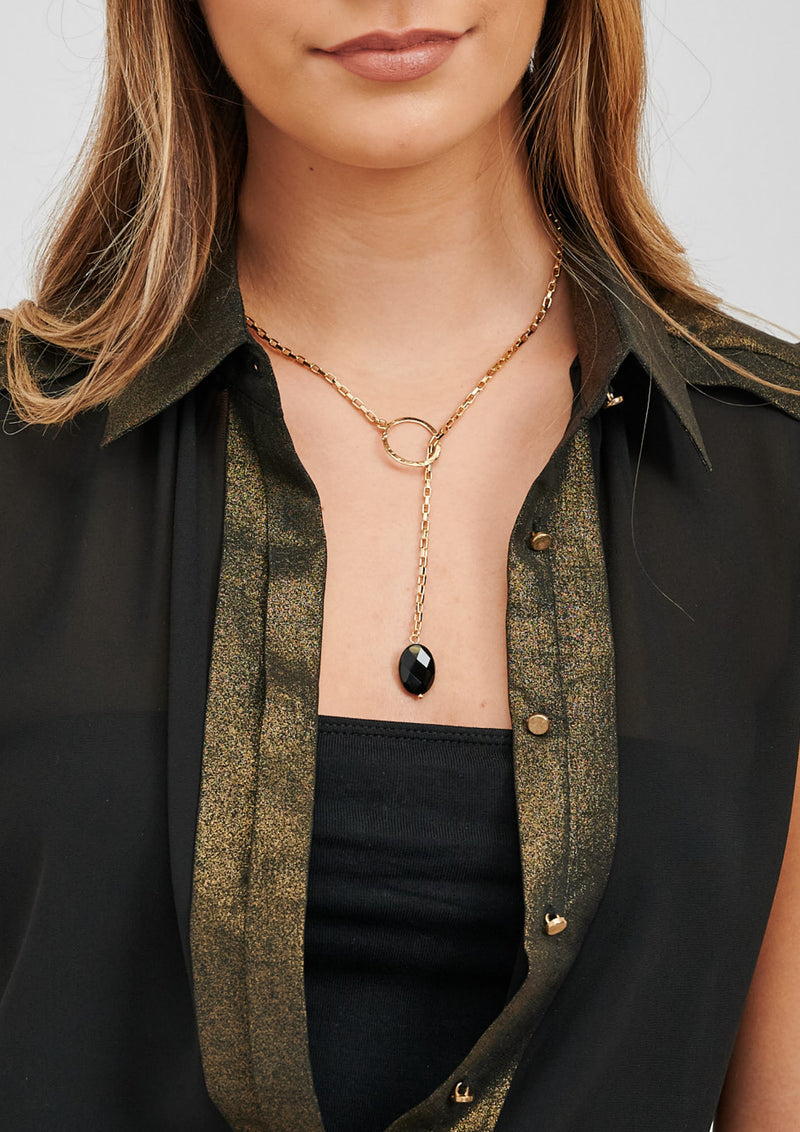 CHARA Gold Lariat and Black Onyx Necklace