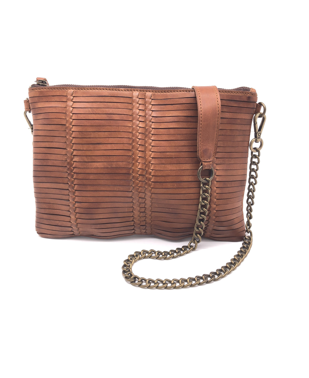 YAN NEO WEAVED LEATHER TAN CLUTCH BAG