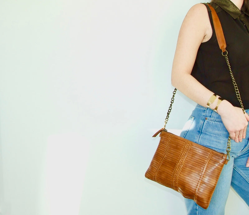 YAN NEO TANNED WEAVED LEATHER BAG WITH LONG CHAIN STRAP