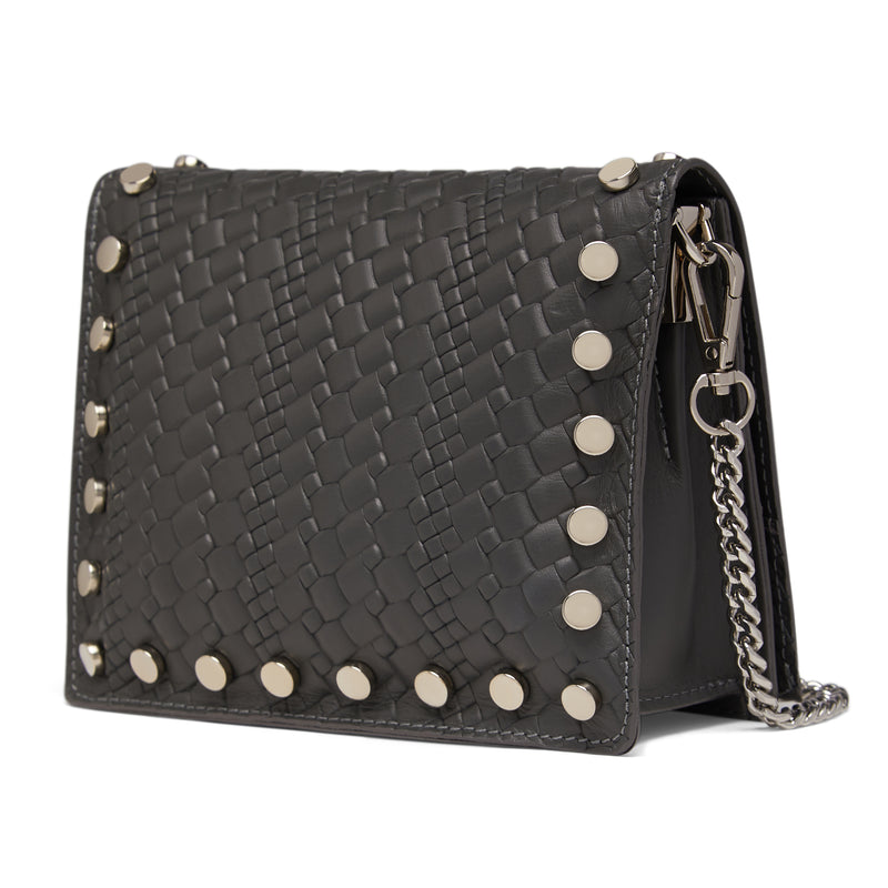 The Grey Kristi Embossed Weaved Leather Stud Bag Side