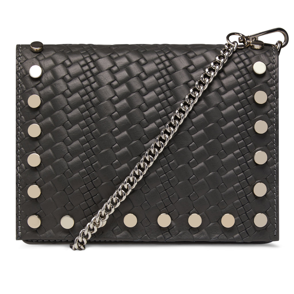 The Grey Kristi Embossed Weaved Leather Stud Bag