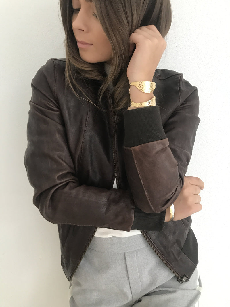 Yan Neo London Clio Brown Vintage Leather Bomber Jacket Styled