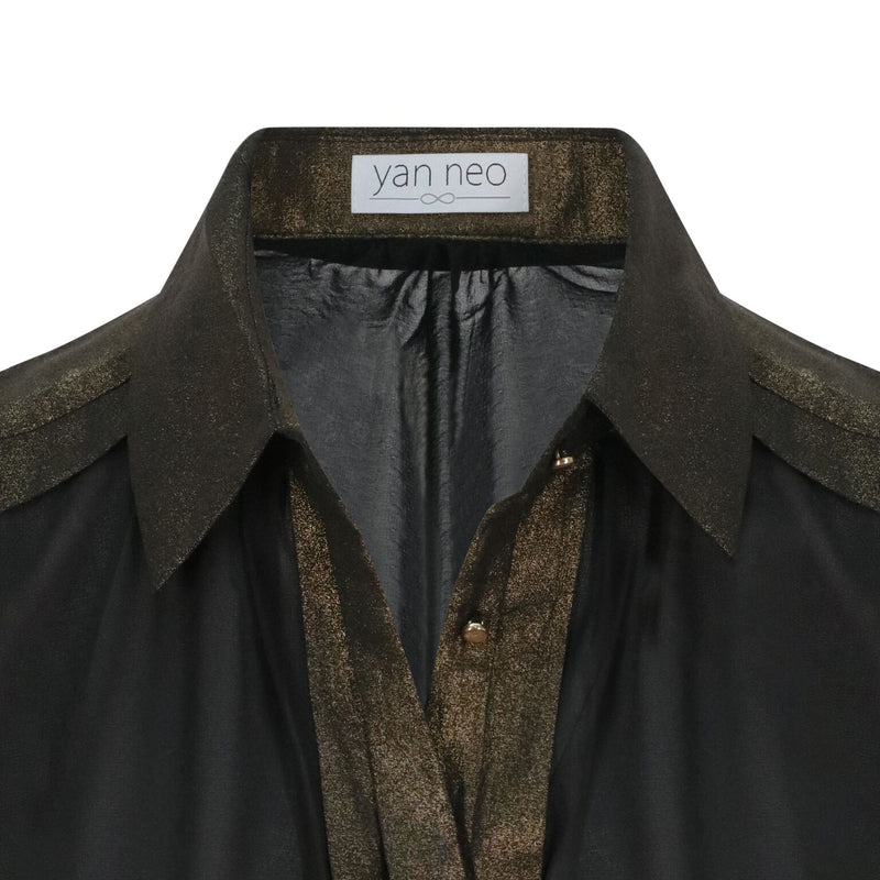 Yan Neo Jean Black & Gold Shimmer Panelled Shirt Detail