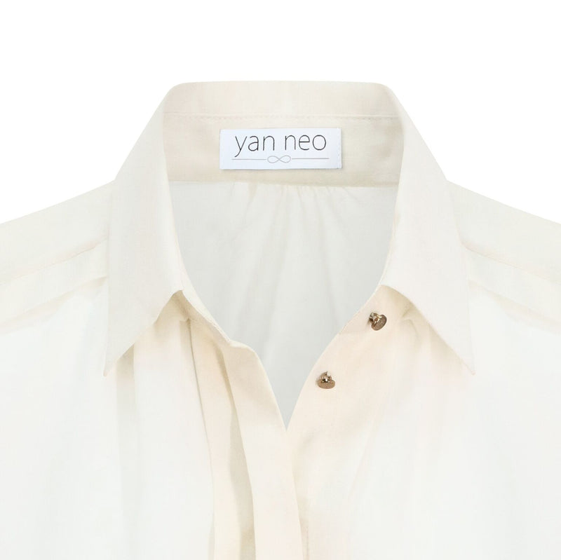 Yan Neo Jean Cream & Gold Shimmer Panelled Shirt Blouse Close Up view