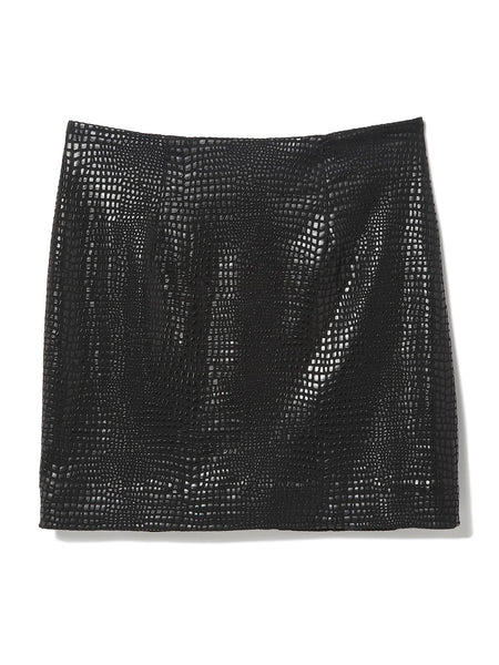 Black Shine Croc Mini Skirt