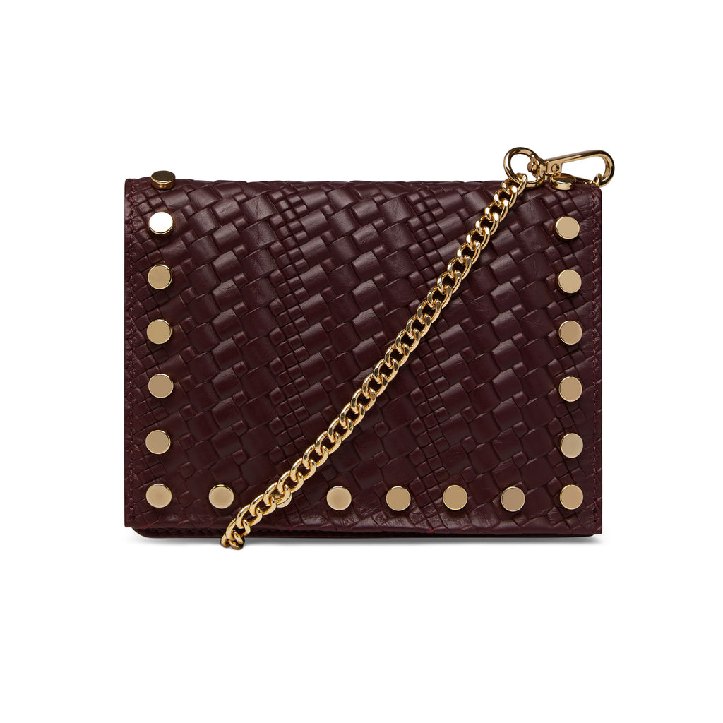 The Claret Kristi Embossed Weaved Leather Stud Bag