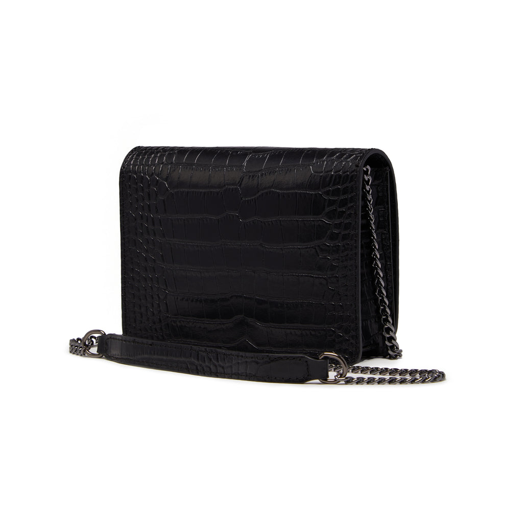 The Kali Black Crocodile Print Leather Bag Back