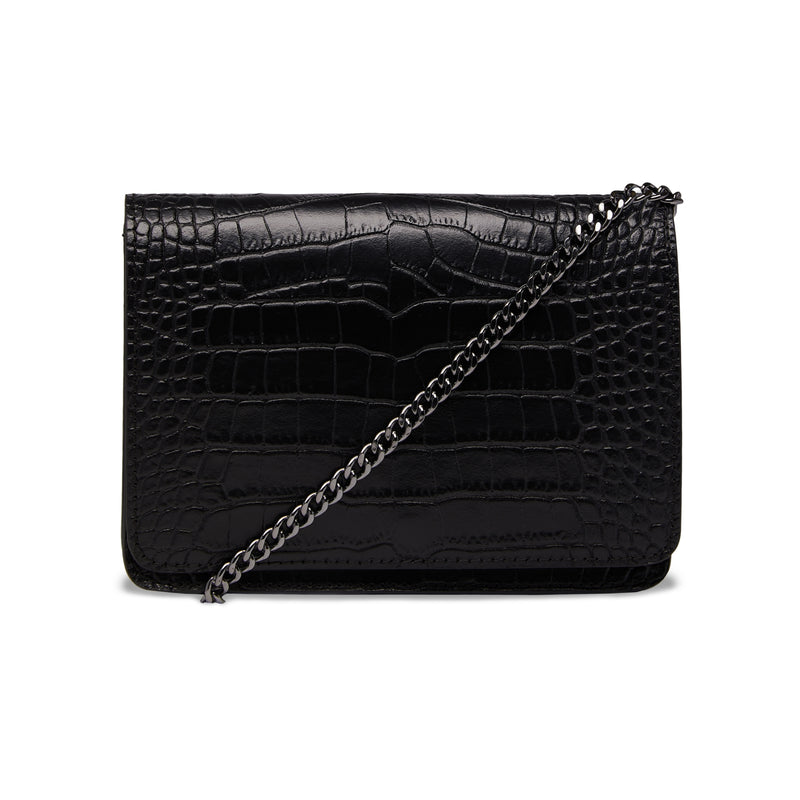 The Kali Black Crocodile Print Leather Bag FRONT