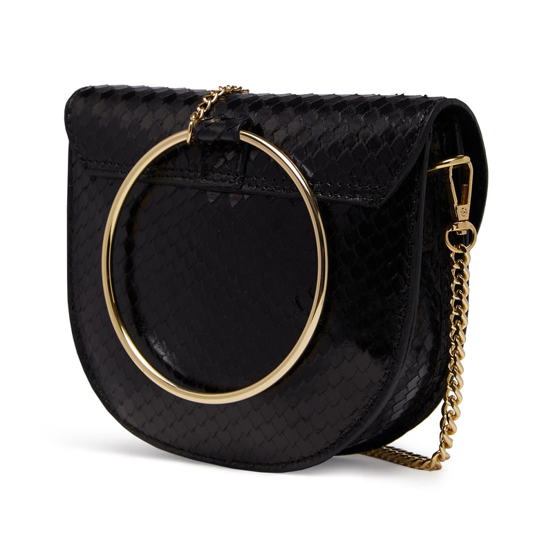 The Kriso Snake Cut Black Leather Bag Back