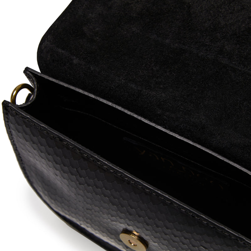 The Kriso Snake Cut Black Leather Bag Internal