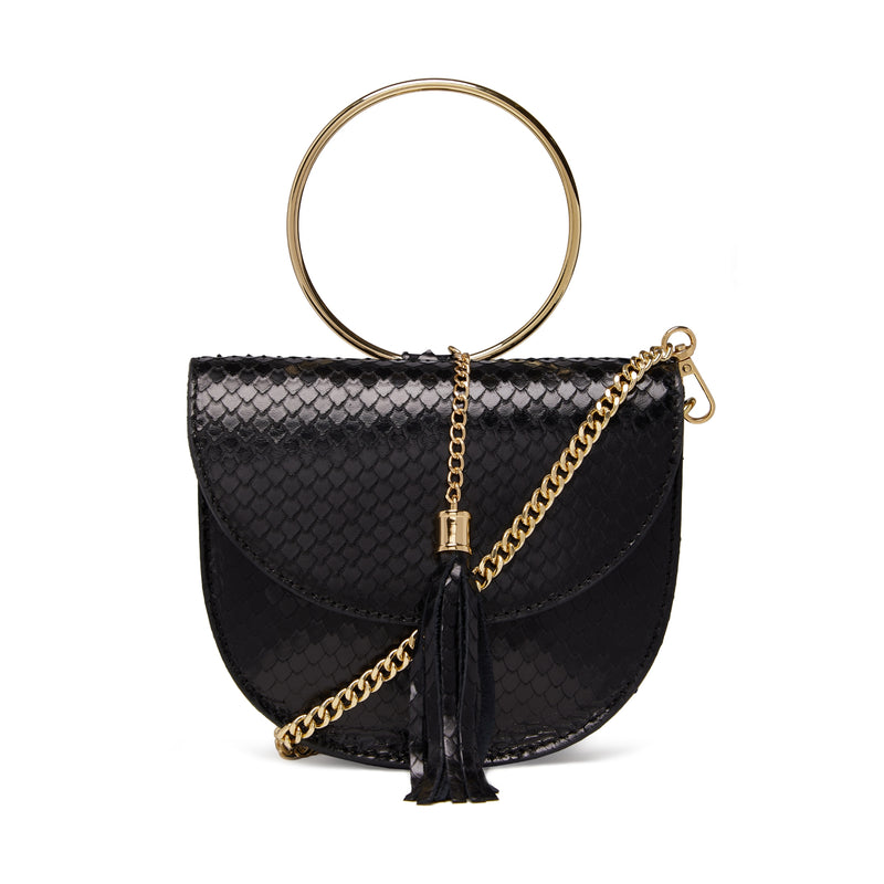 The Kriso Snake Cut Black Leather Bag