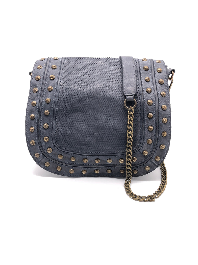 Yan Neo Lois Steel Blue Leather Messenger Bag