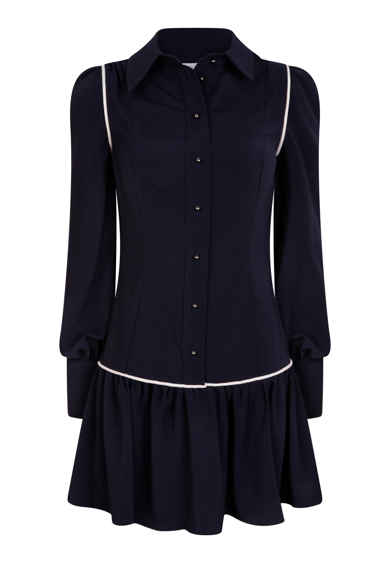 The Leda Navy Shirt Dress with Ivory Velvet Piping