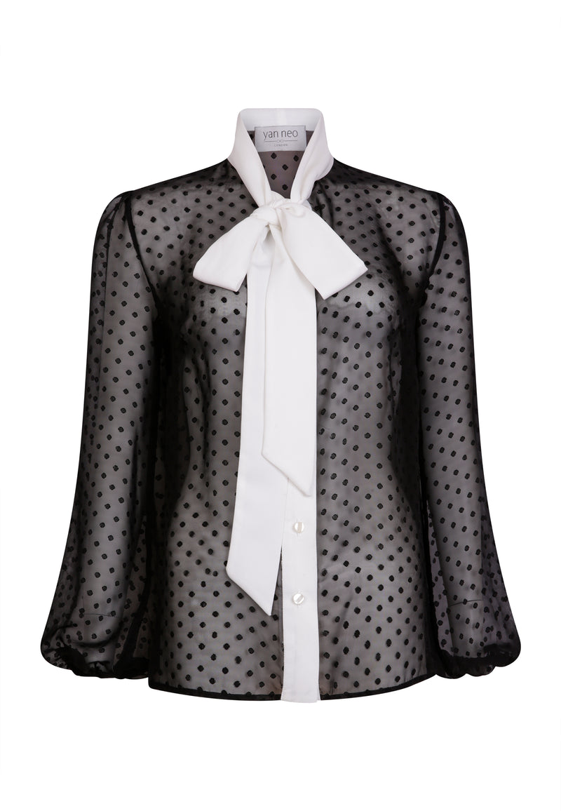 The MINTA Black & White Spot Pussy-Bow Tie Chiffon Shirt