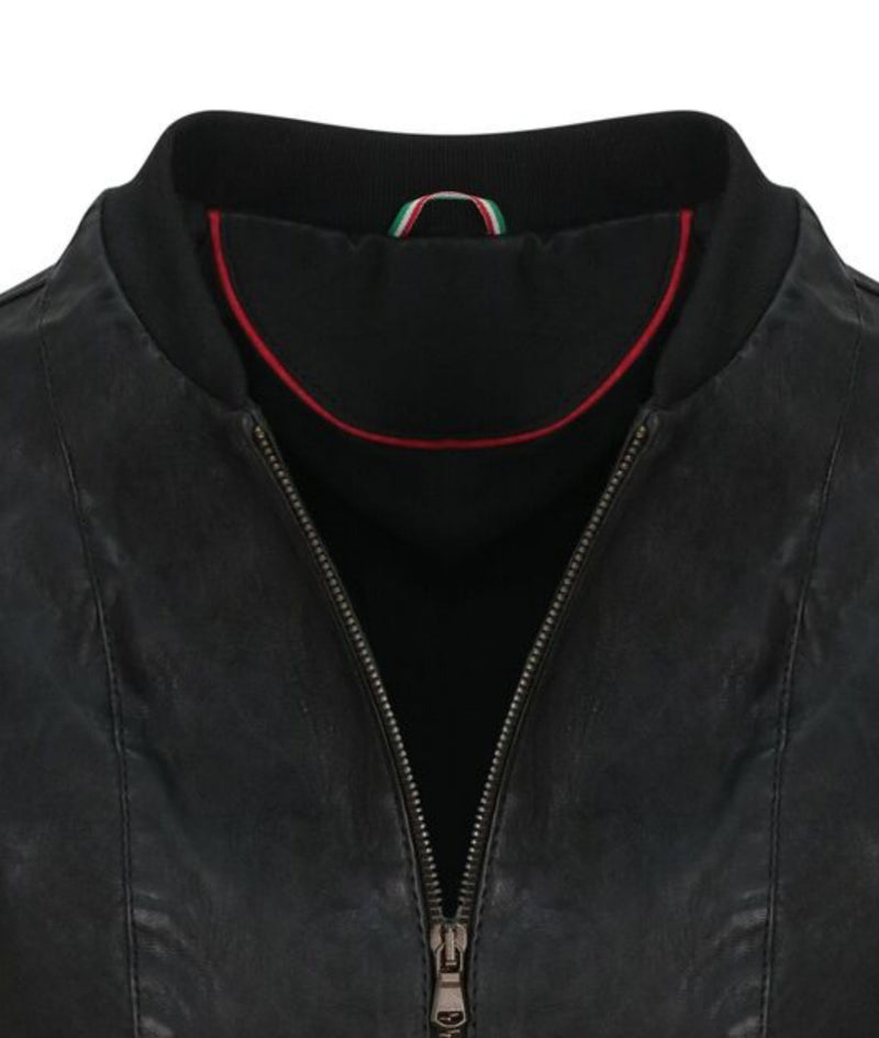 Vintage Leather Bomber Jacket Close Up