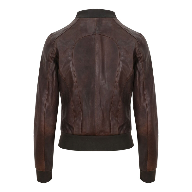 Yan Neo London Clio Brown Vintage Leather Bomber Jacket Back