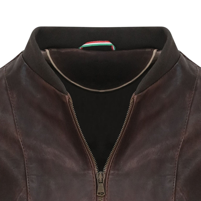 Yan Neo London Clio Brown Vintage Leather Bomber Jacket Close Up