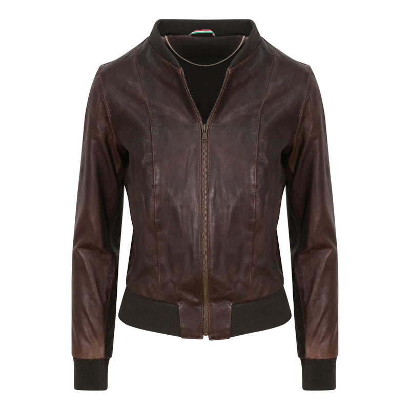 Yan Neo London Clio Brown Vintage Leather Bomber Jacket