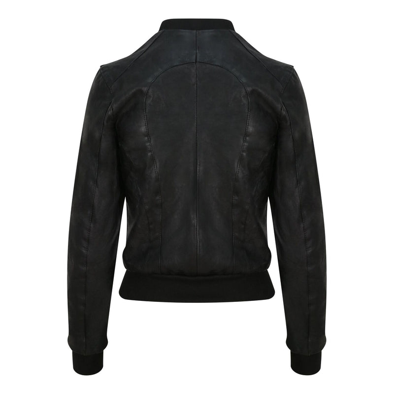 Yan Neo London Clio Black Vintage Leather Bomber Jacket Back