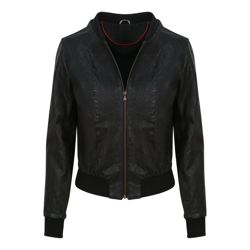 Yan Neo London Clio Black Vintage Leather Bomber Jacket
