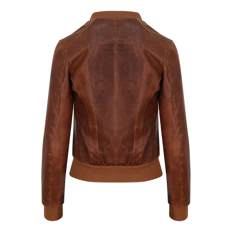 Yan Neo London Clio Tan Vintage Leather Bomber Jacket back