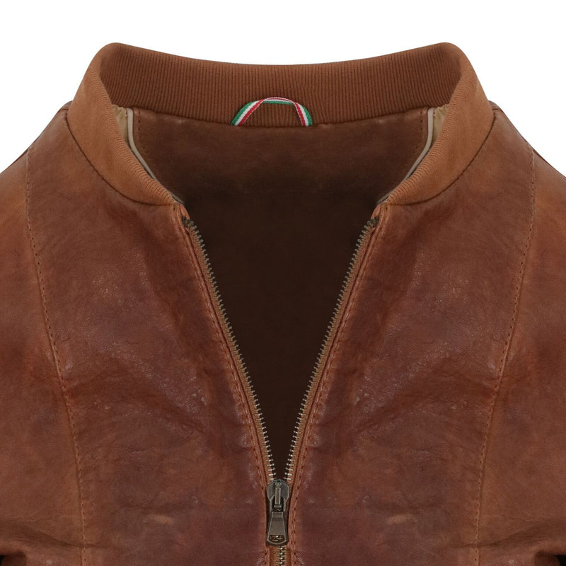 Yan Neo London Clio Tan Vintage Leather Bomber Jacket Close up