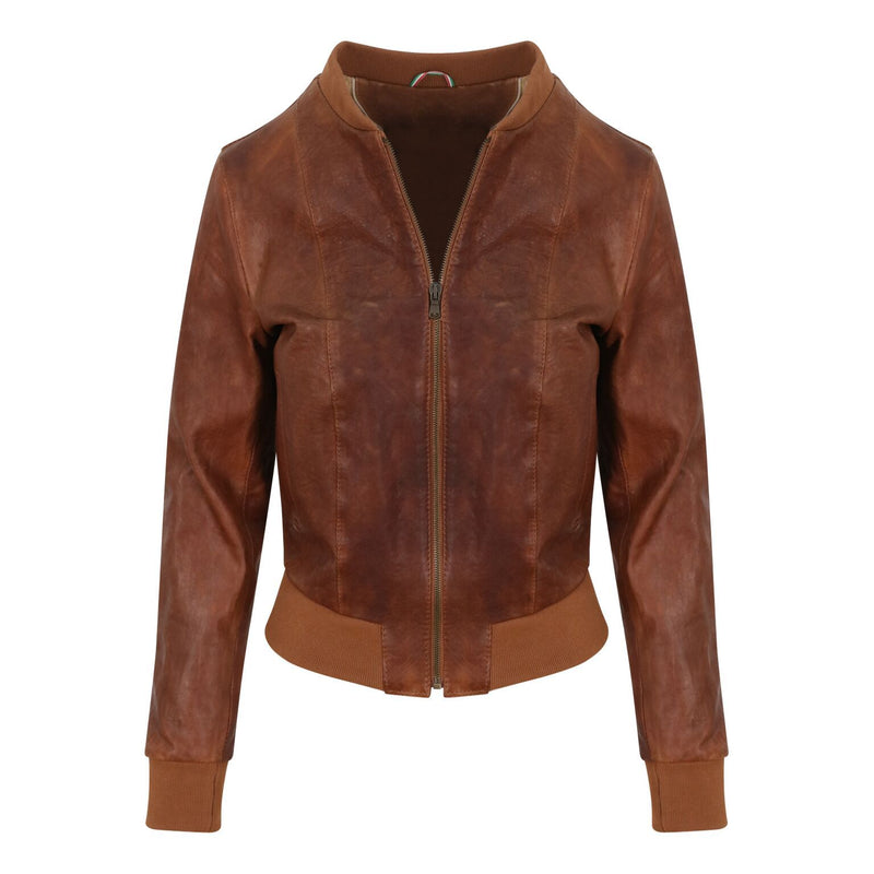 Yan Neo London Clio Tan Vintage Leather Bomber Jacket