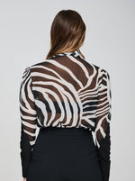 The MINTA Chiffon Zebra Print Pussy Bow Tie Shirt Back View