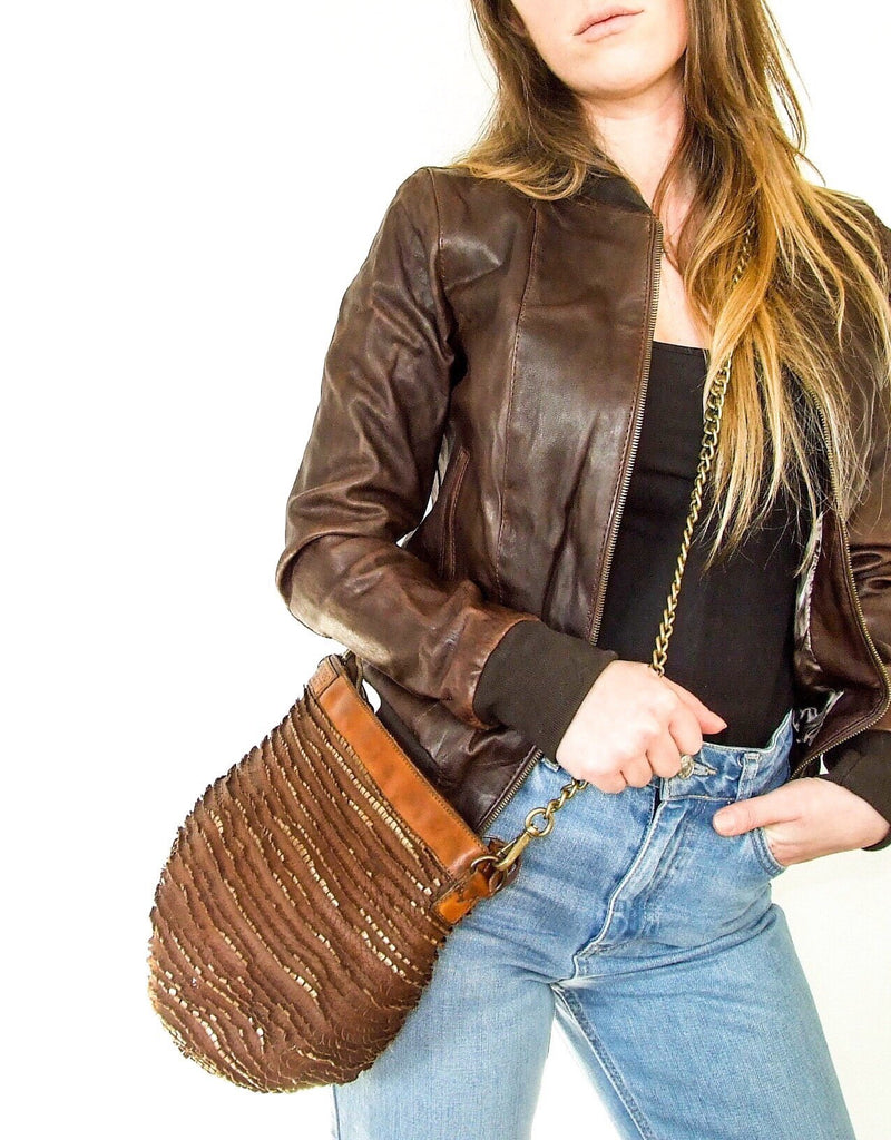 Yan Neo London Clio Brown Vintage Leather Bomber Jacket Worn With Cross Body Bag