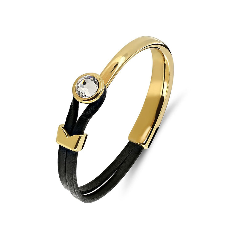 Yan Neo London leather and gold Swarovski cuff bracelet