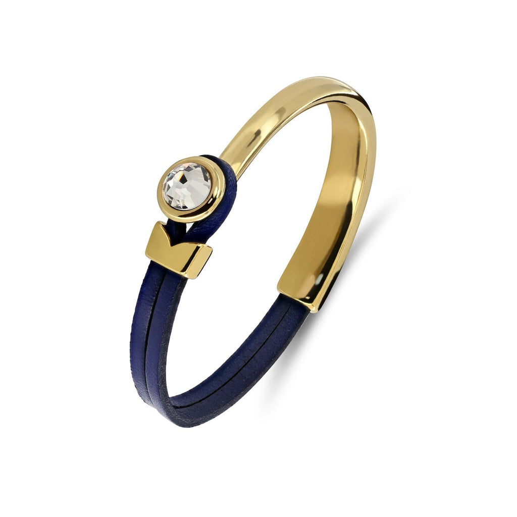 Yan Neo London Navy Leather Gold Swarovski Cuff Bracelet