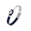 Yan Neo London Navy Leather Silver Swarovski Cuff Bracelet