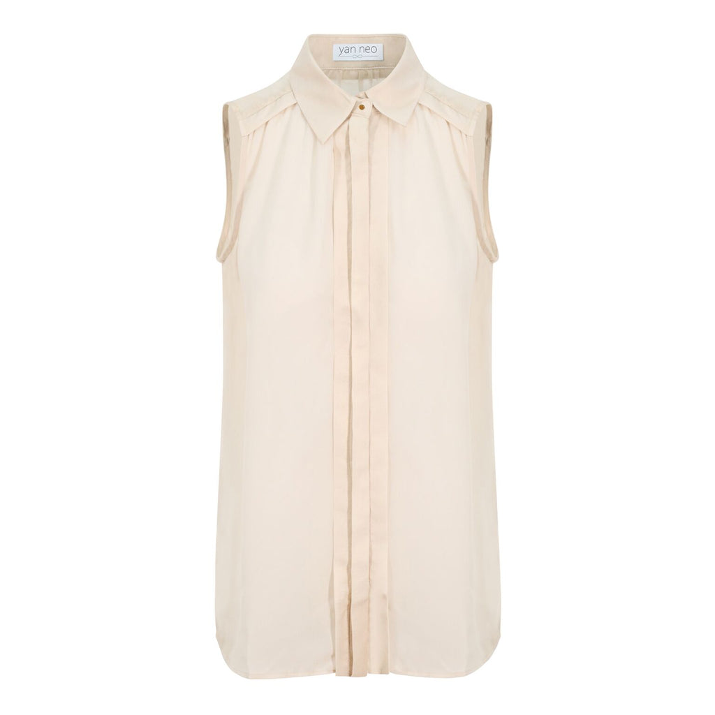 Jean Cream Sleeveless shirt