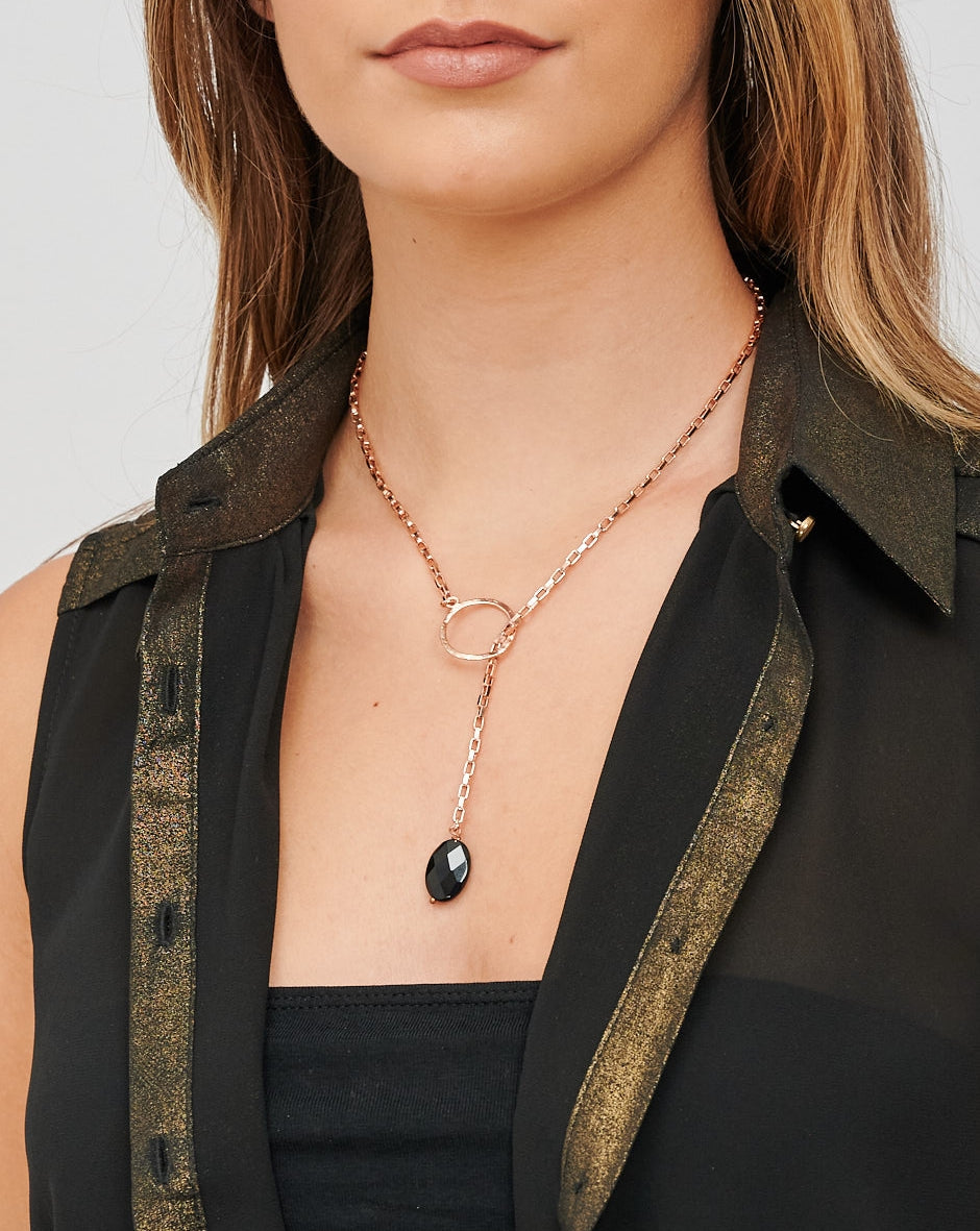 CHARA Rose Gold Lariat and Black Onyx Necklace