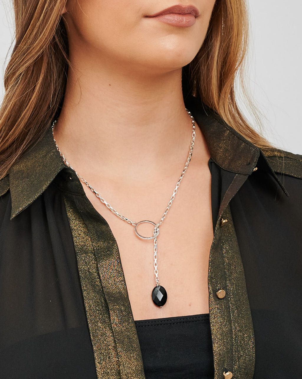 CHARA Silver Lariat and Black Onyx Necklace