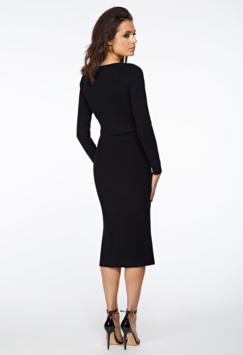 The Thea Knitted Black Straight Midi Skirt back view